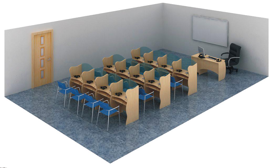 """Цифровой лингафонный кабинет """"Норд Ц-1"""", """"Норд Ц-2"""". Стандартная схема размещения рабочих мест в классе."""